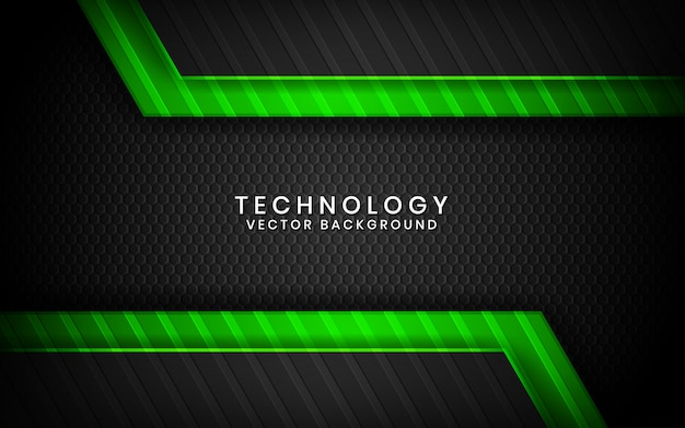 Abstract 3d black technology background overlap layers on dark space with green light effect decoration