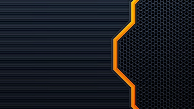 Abstract 3d black technology background overlap layers on dark space with orange light effect decoration. modern graphic design template elements for poster, flyer, brochure, or banner