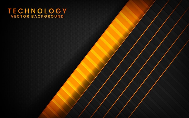 Abstract 3d black technology background overlap layers on dark space with orange light effect decoration
