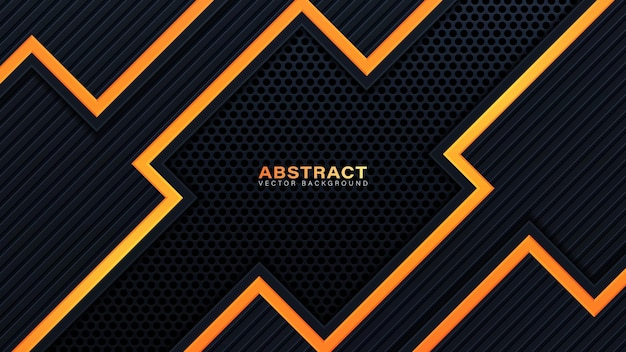 抽象的な3dブラックテクノロジーの背景は、オレンジ色の光の効果の装飾と暗い空間のレイヤーを重ねます。ポスター、チラシ、パンフレット、またはバナーのモダンなグラフィックデザインテンプレート要素