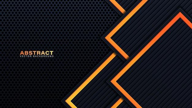 Абстрактные 3d черные технологические фоновые слои перекрывают слои на темном пространстве с украшением оранжевого светового эффекта. элементы шаблона современного графического дизайна для плаката, флаера, брошюры или баннера