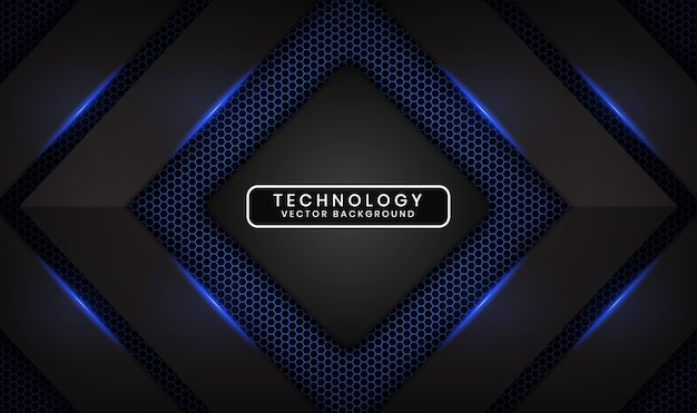 Abstract 3d black technology background with blue light effect on dark space