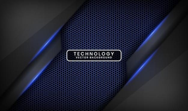 暗い空間に青い光の効果を持つ抽象的な3d黒技術の背景