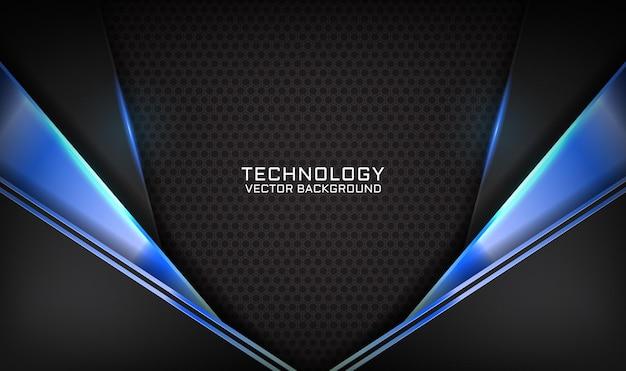 暗い空間に青い光の効果を持つ抽象的な3d黒技術背景