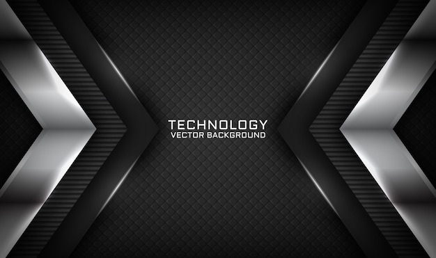 Abstract 3d black technology background with light effect on dark