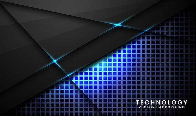 Абстрактный 3d черный фон технологии со случайным квадратом текстурированные, слои перекрытия с синим световым эффектом украшения