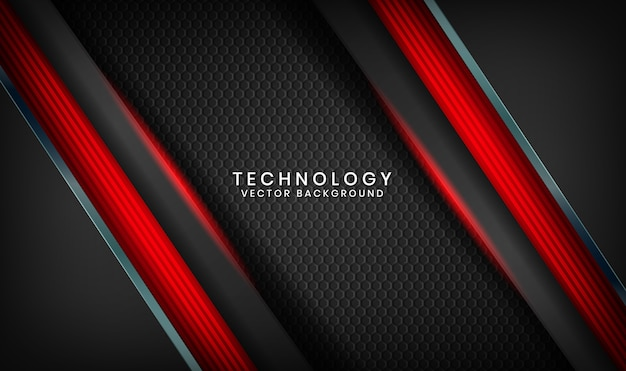 Abstract 3d black technology background with red light effect on dark space