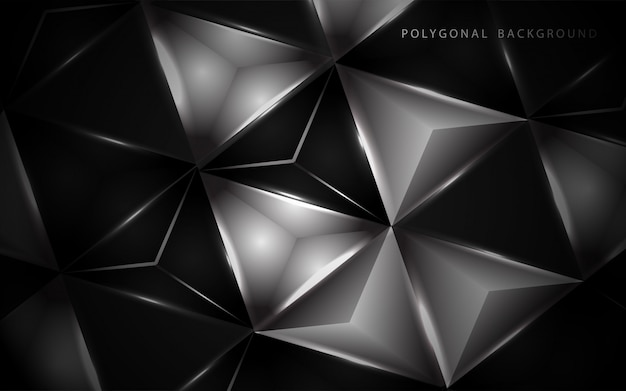 Abstract 3d black and white low polygon background