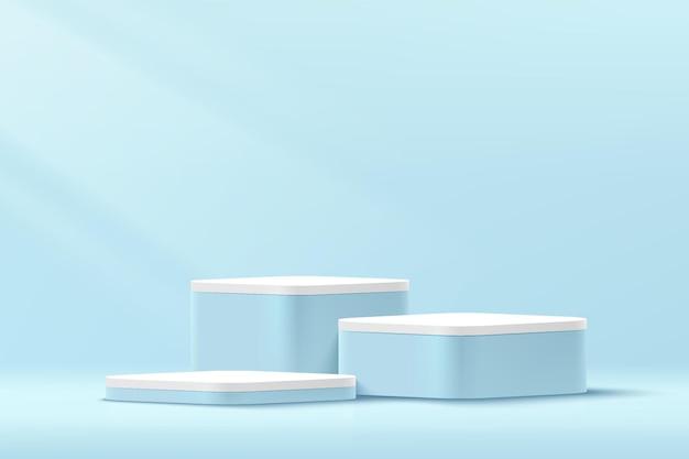 Абстрактный 3d синий и белый круглый угол куб пьедестал пьедестал подиум в пастельно-голубой минимальной настенной сцене