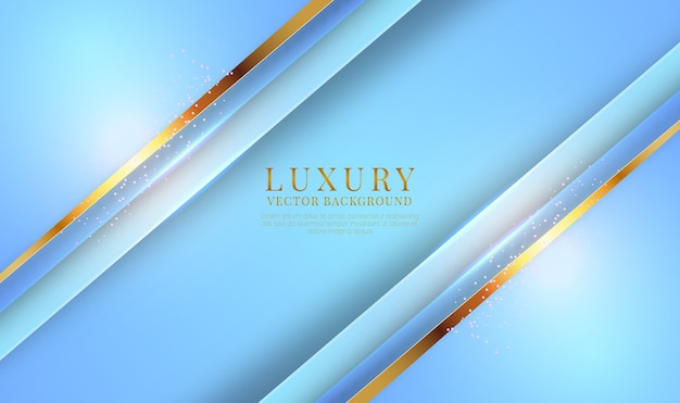 Abstract 3d blue luxury background with golden metallic lines effect
