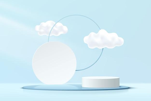 雲の青い空と幾何学的な円の背景を持つ抽象的な3d青白シリンダー台座表彰台