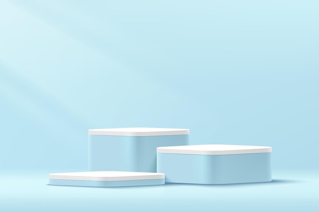 Abstract 3d blue and white round corner cube pedestal podium in pastel blue minimal wall scene
