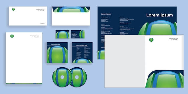 Abstract 3d circle logo futuristic modern corporate business identity stationary