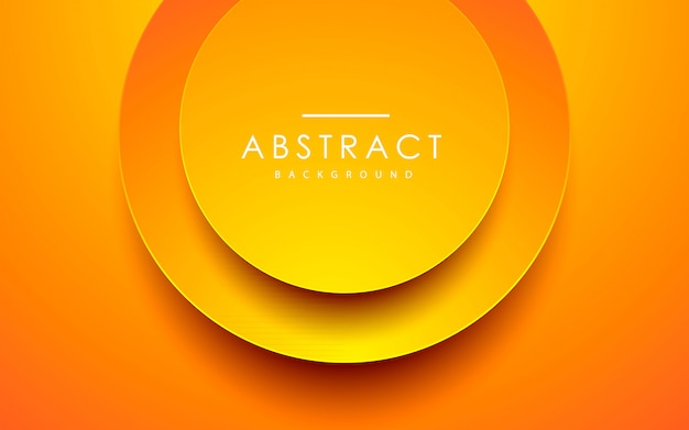 Abstract 3d circle orange papercut background