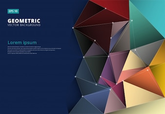 Abstract 3D colorful triangle geometric background