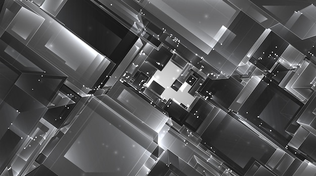 Abstract 3d crystal. a view of the roofs of the city, a large chaotic set of glass pendants.