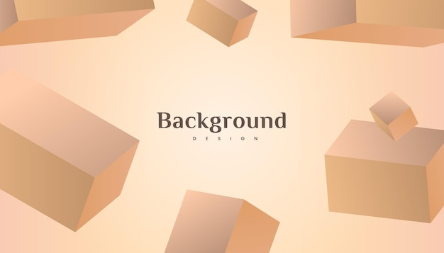 Abstract 3d cube brown gold gradient luxury background design.