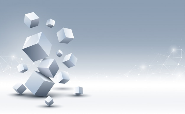 Абстрактный фон 3d кубов. наука и технологии фон. абстрактный фон