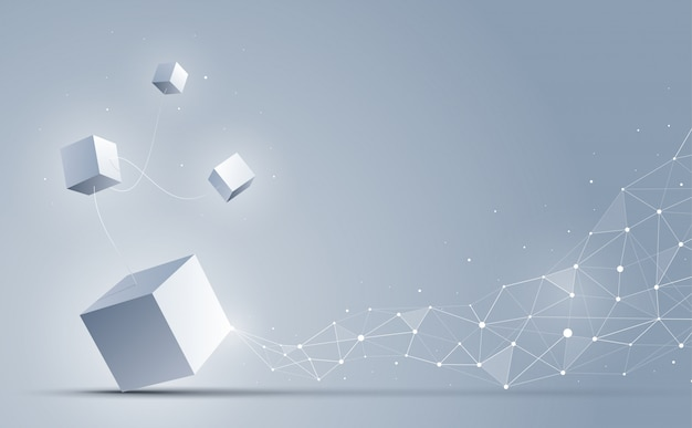 Abstract 3d cubes background, science and technology background,