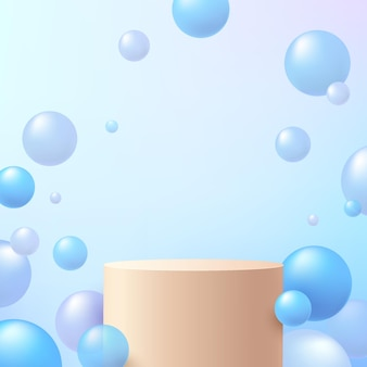 青いホログラムボールまたは泡が空を飛んでいる抽象的な3dシリンダー台座またはスタンド表彰台