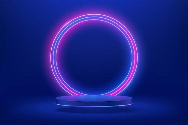 Abstract 3d dark blue cylinder pedestal or podium with circle glowing neon lighting