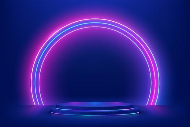 輝く半円のネオンを背景にした抽象的な3dダークブルーシリンダー台座表彰台
