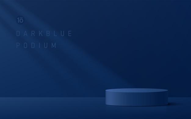 Абстрактный 3d темно-синий цилиндрический пьедестал подиум с оконным освещением и темно-синей стеной