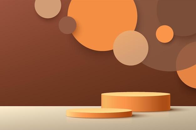 추상 3d 짙은 주황색 실린더 받침대 연단 및 갈색 벽 장면이 있는 원 레이어 배경