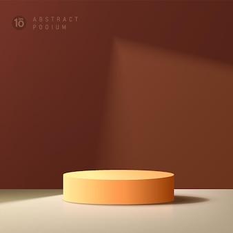 그림자에 갈색 최소 벽 장면이 있는 추상 3d 짙은 주황색 실린더 플랫폼 연단
