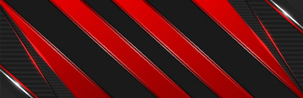 Abstract 3d dark red line shapes with light effect banner background