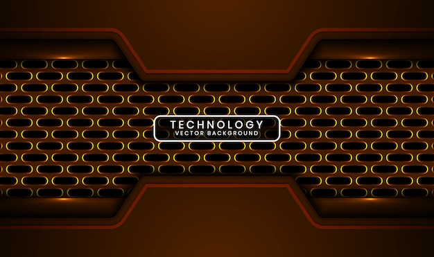 Abstract 3d dark technology background with oval metallic, overlap layer with yellow light effect decoration