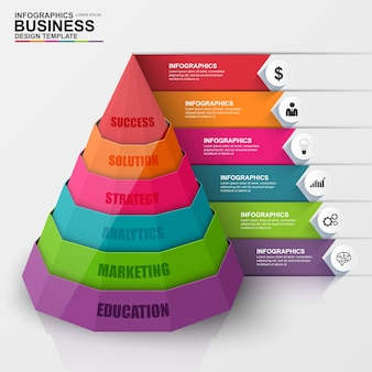 Abstract 3D digital business Infographic. Can be used for workflow process, business pyram