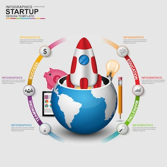 Abstract 3d digital business startup infographic. can be used for workflow processes, bann