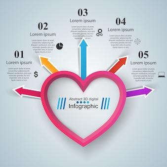 Абстрактные 3d цифровой иллюстрации инфографика. значок сердца.