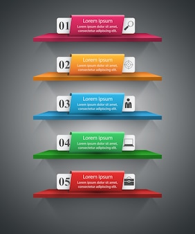 Abstract 3D digital illustration Infographic. Shelf icon.
