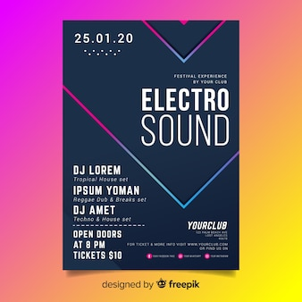 Abstract 3d effect electronic music flyer template