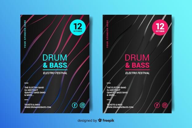 Абстрактные 3d эффект электронной музыки шаблон постера