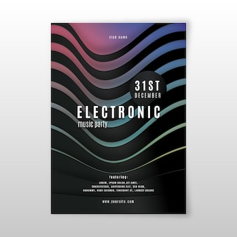 Abstract 3d effect electronic music poster template