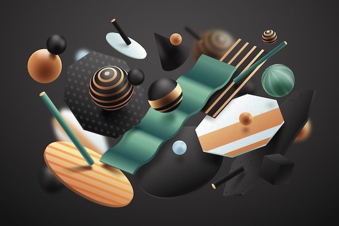 Abstract 3d effect textured shapes background