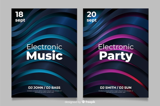 Abstract 3d electronic music poster template