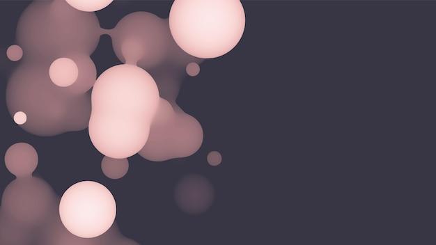 분홍색 공이 있는 추상 3d 유체 메타볼 모양입니다. 그라디언트 색상의 synthwave 액체 파스텔 유기 방울.
