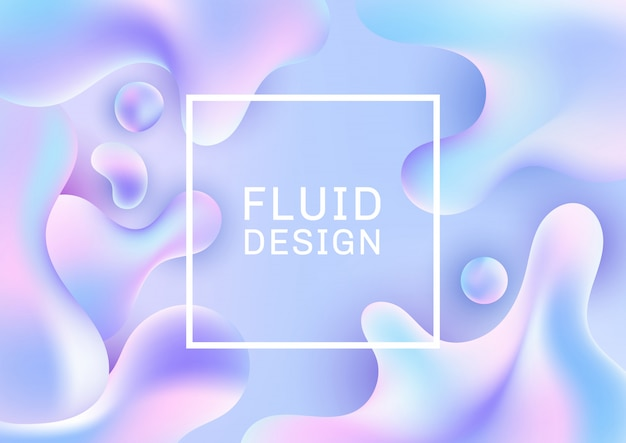Abstract 3d fluid shapes holographic gradient background