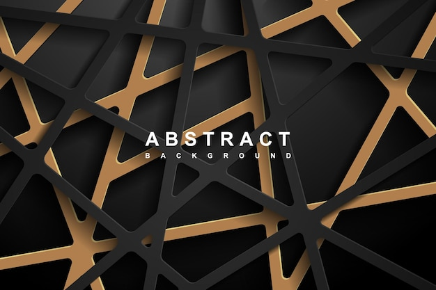 Abstract 3d geometric paper cut background with dark black and gold colors.