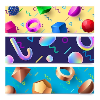 Abstract 3d geometric shapes banner background