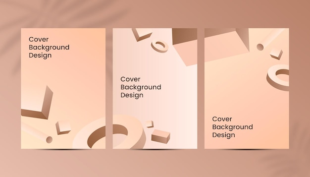 Abstract 3d geometrical shape brown gold gradient a4 luxury cover background design.