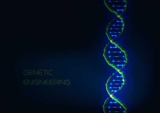 Abstract 3d glowing dna structure spiral on modrn dark blue background.