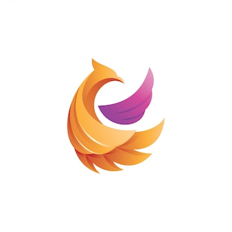 Abstract 3d gradient bird wing logo