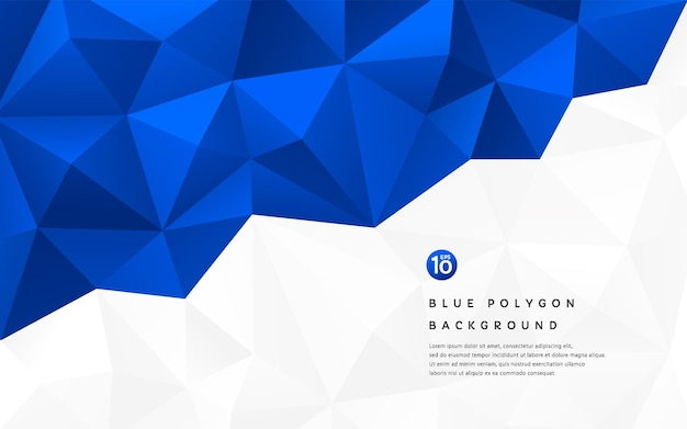 Abstract 3d gradient dark blue geometric polygonal pattern on white background with copy space