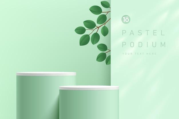 벽에 있는 창 안에 녹색 잎이 있는 추상 3d 녹색 및 흰색 실린더 받침대