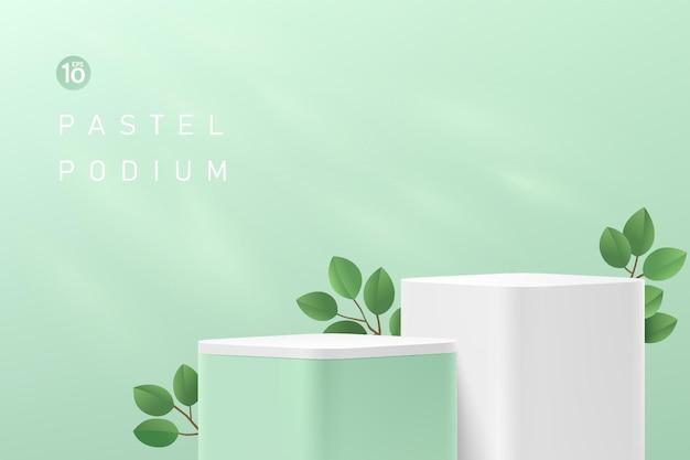 추상 3d 녹색 및 흰색 둥근 모서리 큐브 플랫폼 또는 녹색 잎이 있는 스탠드 연단
